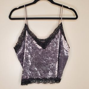 Lacy crushed velvet camisole